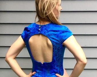 1980s blue silk peplum party dress