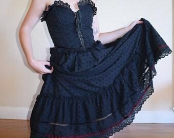 Gunne Sax Black Eyelet Corset Gown