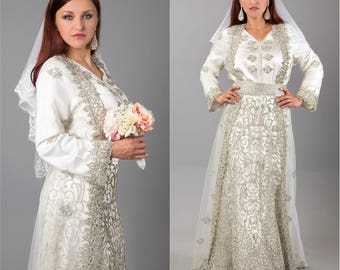 Stunning  ''Cinderella '' Moroccan Bridal Takchita (5 Pieces) - SOLD OUT -