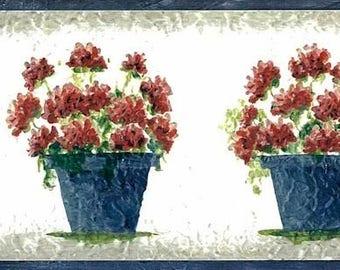 Red Geraniums Vintage Wallpaper Border Floral Blue Gray White Faux SYL8003 15 Feet
