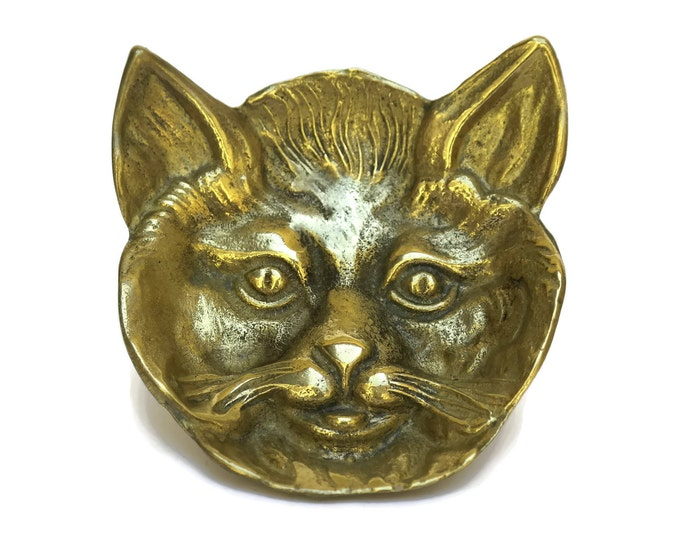 Brass Cat Face Ring Dish. Vintage French Jewelry Tray. Kitty Coin Tray. Cat Lover Gift.