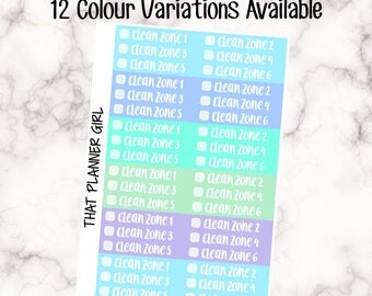 Zone Cleaning Strips - 12 Colour Variations Available! - 36 stickers per sheet! - use to mark of zone cleaning/daily cleaning -Premium Matte