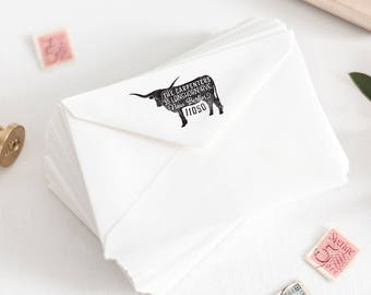 Longhorn Return Address Stamp - Personalized Rubber Stamp - Texas Stamp - Custom Farmer Stamp - Farmhouse Stamp - Farm Rubber Stamp