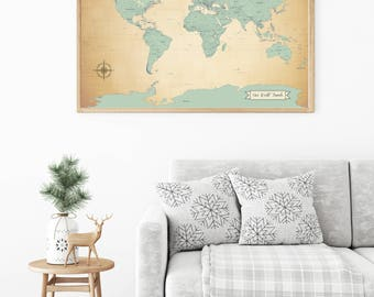 Push Pin Map Etsy - World map for sale