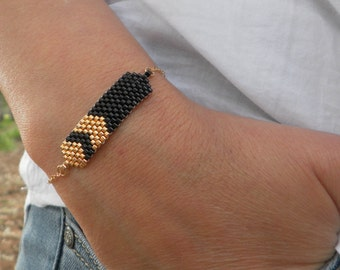 Black bracelet, Dainty bracelet black, Black & gold bracelet, Delicate bracelet, Minimalist Black Bracelet, Minimal bracelet