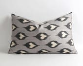 14x22 inches Double side Uzbek Gray and black handwoven & handdyed silk ikat pillow cover