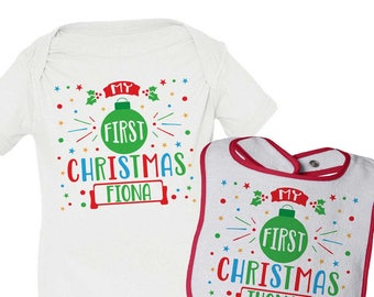 My First Christmas Outfit, Newborn Christmas, Christmas Bodysuit, Christmas Bib, Personalized Christmas Baby Clothing, My 1st Christmas