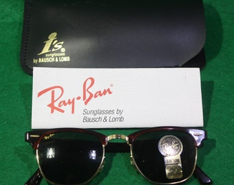 Vintage 1990's NOS Bausch & Lomb Ray Ban Clubmaster Sunglasses with original warranty card and case. Free Shipping Domestic USA