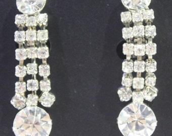 Vintage 1950 Rhinestone Earrings - Wedding / Bride