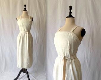 1950s cream silk wiggle dress