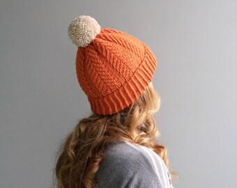 READY to SHIP - Wool & Acrylic Hat / Big Yarn Pom Pom / Slouchy Beanie / Orange - White / Pumpkin - Linen