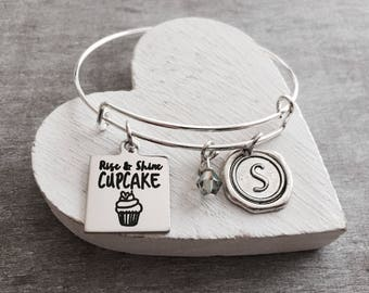 Rise and shine cupcake, Silver Bracelet, Charm Bracelet, baking, Baker, Chef, Friend, Daughter, Rise and Shine, Teenager, Morning, Gifts