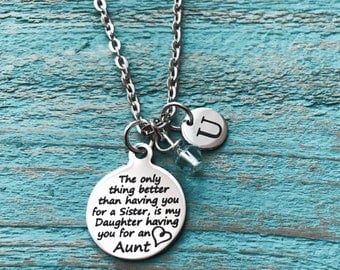 AUNT NIECE, Aunt, Sister, Silver Necklace, Charm Necklace, Silver Jewelry, Gift for Aunt, Aunt Gift, Aunt Jewelry, Aunt, Aunt Necklace,
