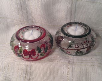 Pair of Christmas Tealight Candle Holders - Red Bows, Holly Berry & Evergreen Tree, Pinecones - Festive Table, Desk Decor - Winter Wedding