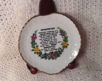 Vintage Grandmother Poem Plate - Heart Shaped, Gold Trim - Poetry in Center, Colorful Flower Bouquet Below - Made in Korea