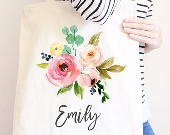 Personalized Canvas Tote Bag, Pretty Flowers