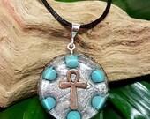 Turquoise Orgone Pendant - Ankh - Spiritual Gift, Harmony, Balance, Energy Healing Jewellery - Medium