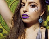 Single Orgone Statement Earring - 'Spirit Jewels' -Black Tourmaline - Crystal Healing Boho Festival Jewellery - Ethical Feathers - Medium