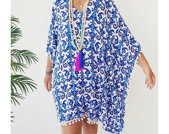 Kaftan Beach cover up Large  - Beach  caftan dress/ poncho - Royal blue and turquoise tribal print rayon cover up with pom pom trim