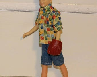 """50's Style Clothes """"Take Me Out to the Ballgame"""" fits Vintage Ricky size boy dolls and Vintage Stacie. Shirt, Jean Shorts and Baseball Mitt"""