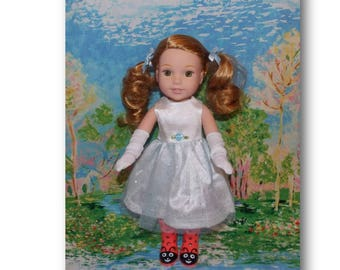 "Party Dress & Gloves fit like the AG Wellie Wisher Doll Clothes. Dress for 14.5"" dolls. Clothes for weddings or birthday parties for dolls"