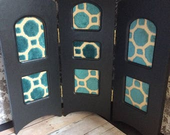 Upcycled Doll Furniture  -3 Panel Room Screen -  for Diorama / Display