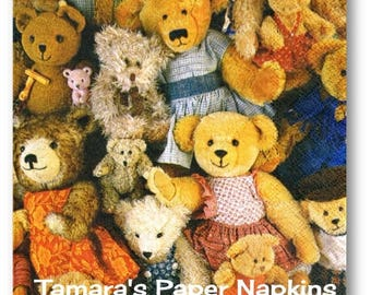 4 Decoupage Napkins, Craft Paper Napkins, TEDDY BEARS Toys Kids Party 33cm 13 Inch. 2000 Printed Designs for Papercraft, Collage