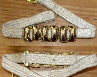 1970's 80s Braided Belt GOLD Buckle  / Cinch / Beige Stretch / Vintage / fits S
