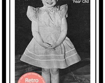 3-5 year old Summer Dress - 1950s Vintage Sewing Pattern - PDF Sewing Pattern - Instant Download