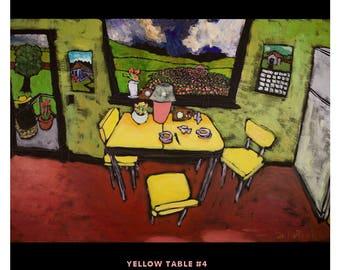 "Yellow Table #4 •Douglass Truth • Original 24"" X 36"" acrylic on canvas painting"