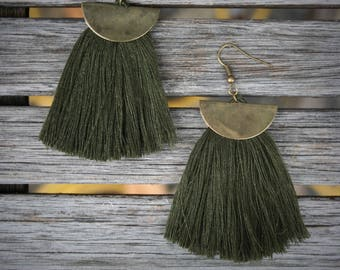EARRING for women, black or khaki tassel, silver, gold or antique gold half moon and hook. - BO122-