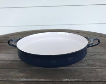 Jen Quistgaard designed dark blue Kobenstyle paella pan by Dansk