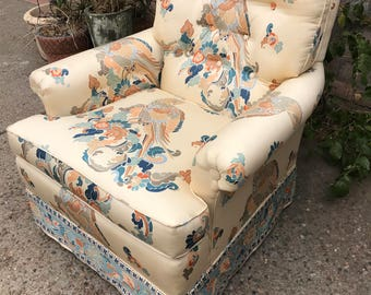 Vintage Reupholstered Oriental Inspired Pheasant Upholstery Accent Chair