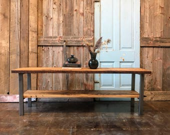 Reclaimed Wood Open Shelf Media Console / Industrial TV Stand