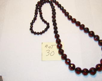 Ant #30 Facetted Dark Cherry Amber Necklace