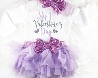 Baby Valentines Outfit Baby Valentines Day My 1st Valentines Day Purple Baby Outfit First Valentines Day 1st Valentines Day Baby Girl Outfit
