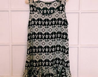 Vintage Black & White Print Drop Waist Dress