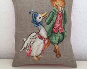 RESERVED FOR PATRICIA Handmade Pincushion Beatrix Potter Mr Tod Jemima Puddle Duck Liberty of London Fabric