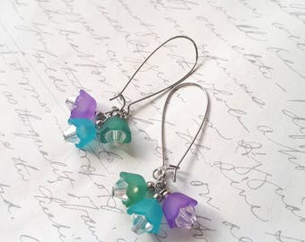 Turquoise purple and green flower cluster earrings with crystals