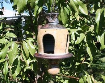 Unique Orange Raku Bird Feeder #06, Metallic Ceramic Raku Lanterns, Hanging Pottery Bird Feeder, Garden Decor