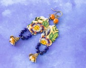 Long Blue Flower Daher Vintage Tin Earrings with Blue Stone Beads and Orange Glass Beads, Bohemian Jewelry..