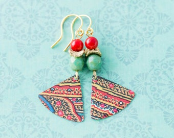 Bohemian Colorful Vintage Tin Fan Earrings with Red Coral and Turquoise Czech Glass Beads and Gold, Boho Chic Earrings