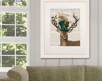 The Mad Hatter Deer  - Alice in wonderland decor, deer illustration stag painting wall decor digital print deer art print Stag Head