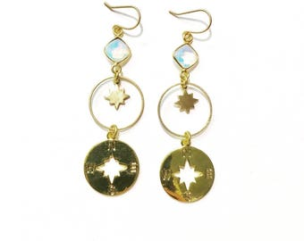 Go Your Own Way Earrings with Brass Stars and Compass Charms