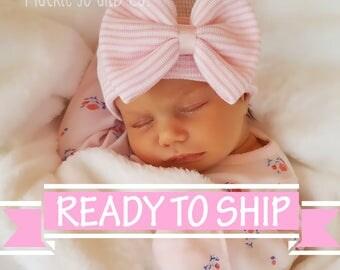 NEWBORN GIRL, baby girl, newborn hospital hat, newborn hat, newborn hats Baby girl hospital cap pink stripe beanie