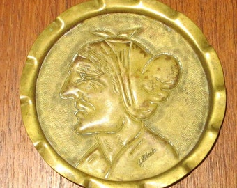Antique G Lhoste Hammered Brass Change Tray - Old European Woman - Signed - Free Shipping