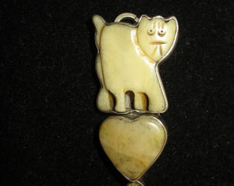 Vintage Sterling & Stone The Dreamer Signed Cat Pendant Brooch - Free Shipping
