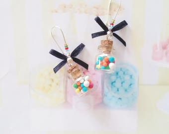 earrings jar multicolored chewing gum polymer clay