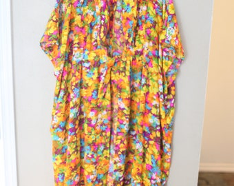 vintage orange & yellow hippie floral print long maxi  caftan tunic swim cover wrap *