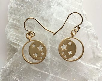 Matte Gold Moon and Star Earrings - Small Round Moon and Stars Matte Gold Earrings and Necklace Set - Sold Individually